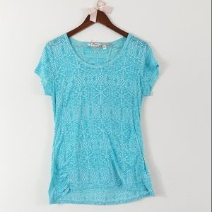 Athleta Blue Ruched Sides Cap Sleeve Workout Top